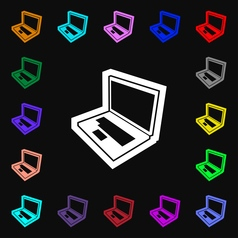 Laptop icon sign Lots of colorful symbols for your vector image