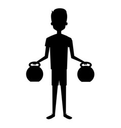 man silhouette lifting weights character vector image