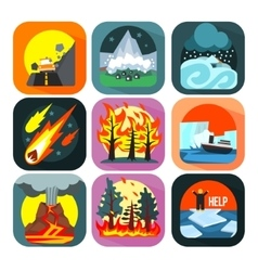 Natural disaster catastrophe and crisis flat set vector image