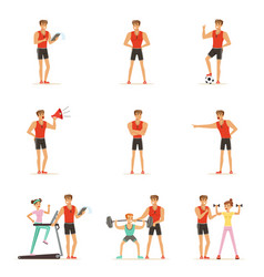 personal gym coach trainer or instructor set of vector image