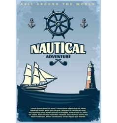 Retro nautical poster vector