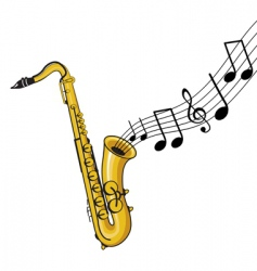 saxophone with notes vector image vector image