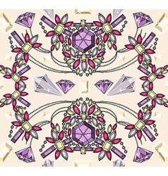 Seamless jewelery necklace kaleidoscope pattern vector image