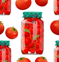 Seamless texture with preserve tomato vector