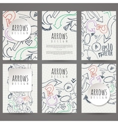 Set of six designs of hand-drawn arrow vector image vector image