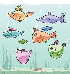 Set of the Funny Fishes vector image vector image