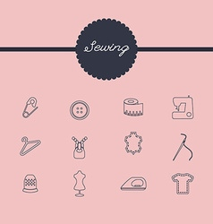 Sewing equipment and needlework icons set vector
