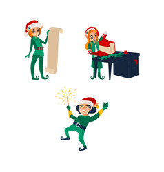 Three christmas elves santa little helpers vector
