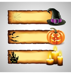 Three horizontal Halloween banners from paper vector image