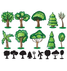 Trees and silhoutte of trees vector