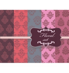 Vintage floral ornament damask patterns vector
