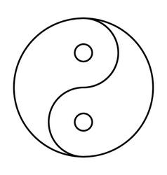 Yin yang symbol black outline vector