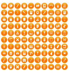 100 paint school icons set orange vector