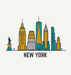 New york line view vector