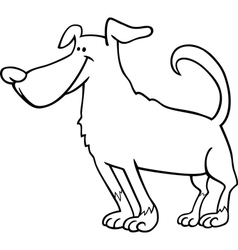 cute dog cartoon for coloring book vector image