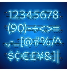 Glowing neon blue numbers vector