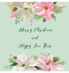 New year and christmas card flowers poinsettia vector