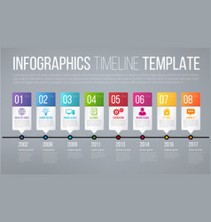 Timeline or options infographics template with 8 vector