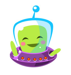 funny smiley alien cute cartoon monster colorful vector image