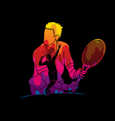 Double exposure tennis player sport man action vector