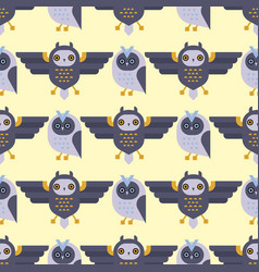 cartoon owl bird cute character seamless pattern vector image