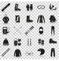 Equipment for winter sports silhouette icons with vector
