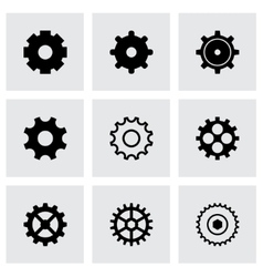 Black gear icons set vector