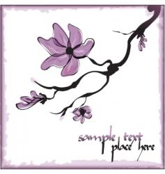 Violet flower branch vector