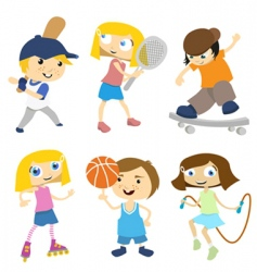 cartoon children playing vector image