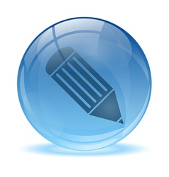 3D glass sphere pen icon vector image vector image