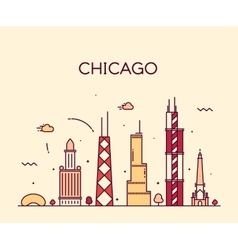 Chicago city skyline trendy line art vector