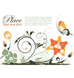 Grunge floral frame with butterfly element for des vector