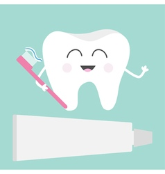 Tooth icon toothpaste and toothbrush cute funny vector