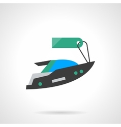 Flat color motor boat with tag icon vector