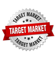 Target market 3d silver badge with red ribbon vector