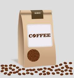 Brown paper food bag package of craft coffee vector