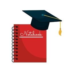 cartoon notebook cap graduation graphic isolated vector image