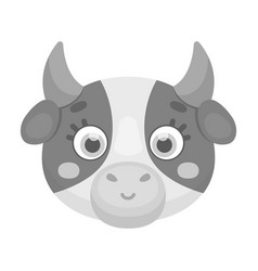 cow muzzle icon in monochrome style isolated on vector image