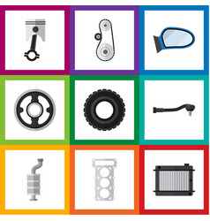 Flat icon auto set of packing wheel auto vector