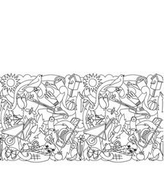 Garden coloring seamless border vector