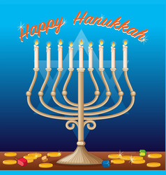 happy hanukkah card template with lights and coins vector image vector image