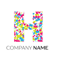 Letter h logo with blue yellow red particles vector