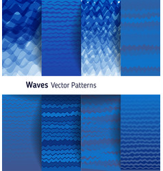 Marine ornamental pattern collection blue vector