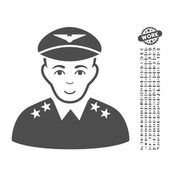 Military pilot officer icon with bonus vector