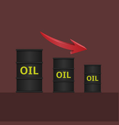 Oil barrels with arrow vector