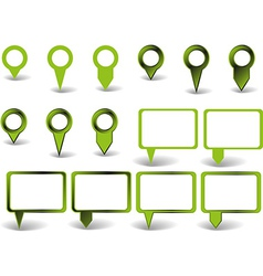 Set of green pointers on white background with vector