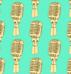 Sketch old microphone in vintage style vector image