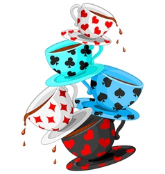 Tea cups pyramid vector image