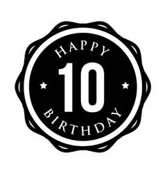 Ten years happy birthday badge ribbon vector