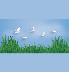 the ducks are flying into the sky vector image